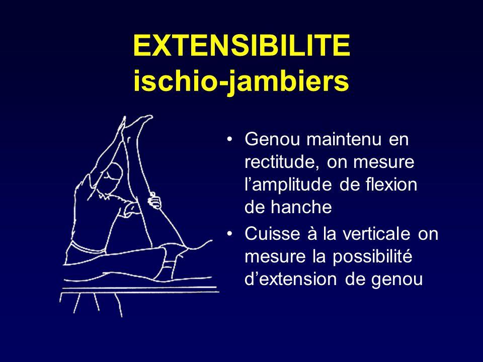 EXTENSIBILITE ischio-jambiers Genou maintenu en rectitude, on mesure lamplitude de flexion de hanche Cuisse à la verticale on mesure la possibilité de