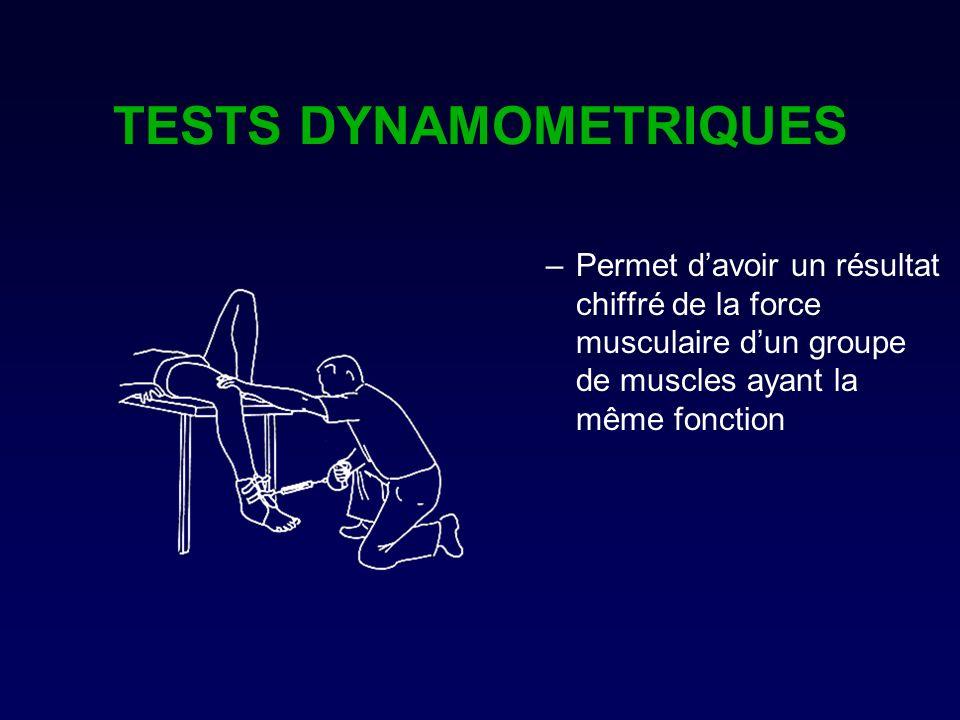 TESTS DYNAMOMETRIQUES –Permet davoir un résultat chiffré de la force musculaire dun groupe de muscles ayant la même fonction