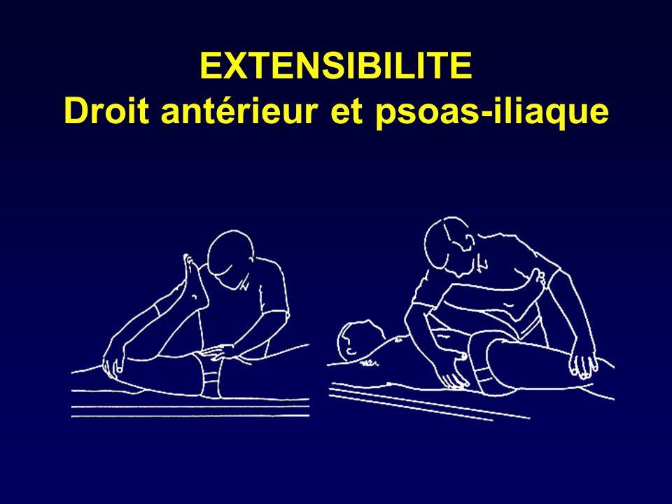 Adducteurs cotations 3 à 5 Position : décubitus latéral strict (maintenir le bassin) Compensations: Fléchisseurs de hanche - > adduction+flexion+RI Grd fessier fx inf.