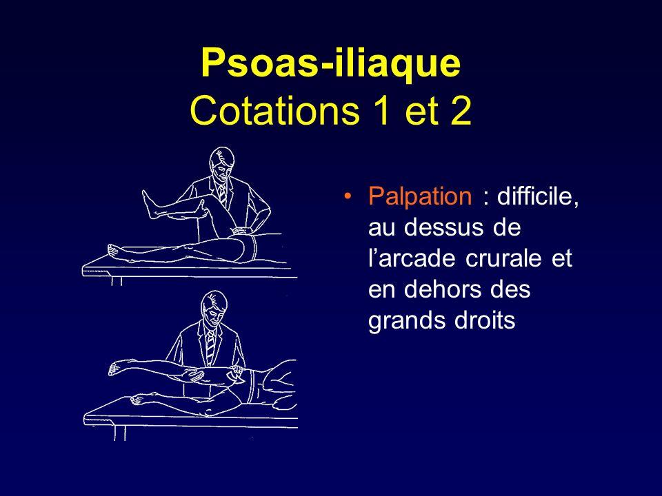 Psoas-iliaque Cotations 1 et 2 Palpation : difficile, au dessus de larcade crurale et en dehors des grands droits