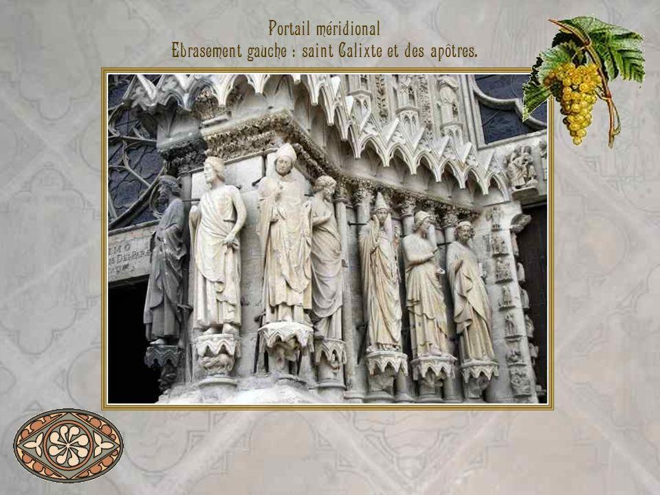 Portail méridional Ebrasement gauche : saint Calixte et des apôtres.