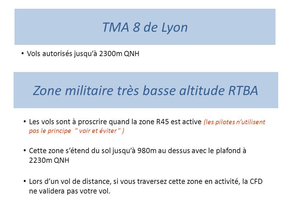 TMA 8 de Lyon Vols autorisés jusquà 2300m QNH Zone militaire très basse altitude RTBA Les vols sont à proscrire quand la zone R45 est active (les pilo