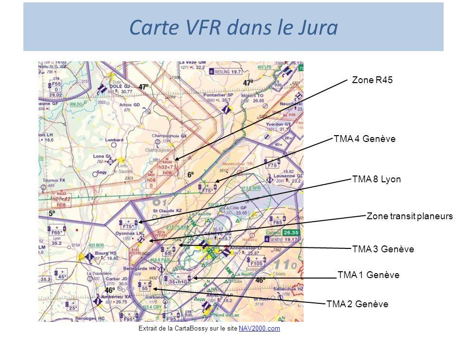 Carte VFR dans le Jura Extrait de la CartaBossy sur le site NAV2000.comNAV2000.com Zone R45 TMA 1 Genève TMA 2 Genève TMA 3 Genève TMA 4 Genève TMA 8