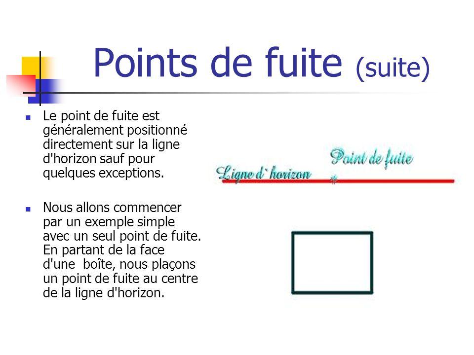 Points de fuite (suite) Le point de fuite est généralement positionné directement sur la ligne d'horizon sauf pour quelques exceptions. Nous allons co