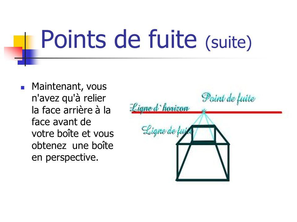 Points de fuite (suite) Maintenant, vous n avez qu à relier la face arrière à la face avant de votre boîte et vous obtenez une boîte en perspective.