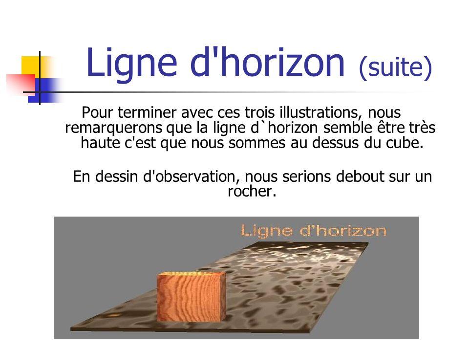 Ligne d horizon (suite) Pour terminer avec ces trois illustrations, nous remarquerons que la ligne d`horizon semble être très haute c est que nous sommes au dessus du cube.