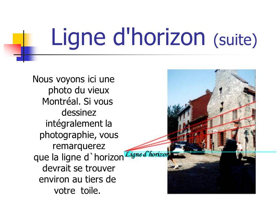 Ligne d'horizon (suite) Nous voyons ici une photo du vieux Montréal. Si vous dessinez intégralement la photographie, vous remarquerez que la ligne d`h