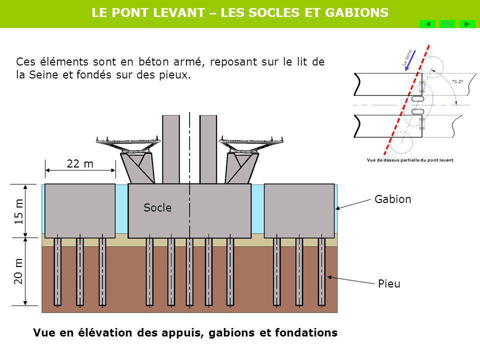 Vue en élévation des appuis, gabions et fondations Gabion Pieu 20 m 15 m 22 m 70.2° La Seine Vue de dessus partielle du pont levant Ces éléments sont