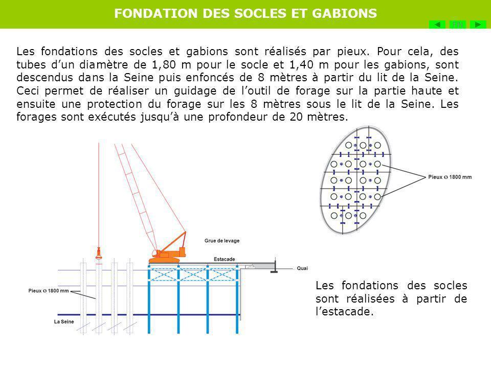 Les fondations des socles et gabions sont réalisés par pieux. Pour cela, des tubes dun diamètre de 1,80 m pour le socle et 1,40 m pour les gabions, so