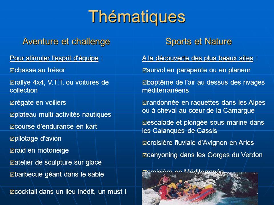 Thématiques Aventure et challenge Pour stimuler l esprit d équipe Pour stimuler l esprit d équipe : chasse au trésor rallye 4x4, V.T.T.