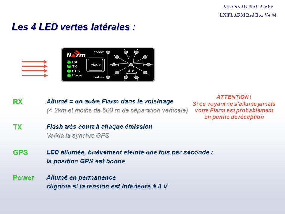 AILES COGNACAISES LX FLARM Red Box V4.04 Michel LEBE + CNVV MAI 2010 Signalisation de proximité : Pas démission de son FLARM à 3 heures - Au dessus FLARM à 1 heures - Au dessus FLARM à 2 heures - En dessous Les LED de position verticale et de direction sont allumées en continue.