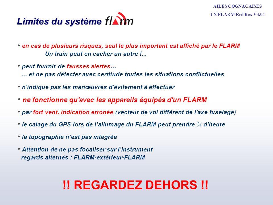 AILES COGNACAISES LX FLARM Red Box V4.04 Michel LEBE + CNVV MAI 2010 Limites du système Il ne détecte pas avec certitude toutes les situations conflictuelles.
