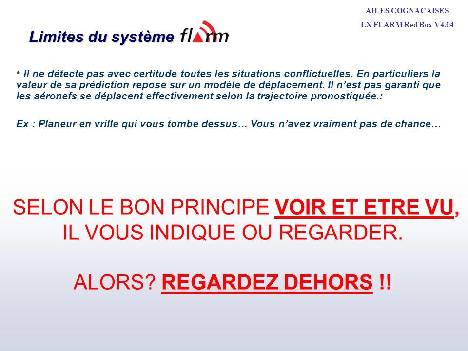 AILES COGNACAISES LX FLARM Red Box V4.04 Michel LEBE + CNVV MAI 2010 Limites du système Il ne détecte pas avec certitude toutes les situations conflic