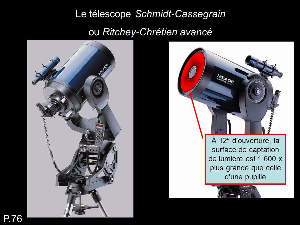 Le télescope Schmidt-Cassegrain ou Ritchey-Chrétien avancé P.76 À 12 douverture, la surface de captation de lumière est 1 600 x plus grande que celle dune pupille