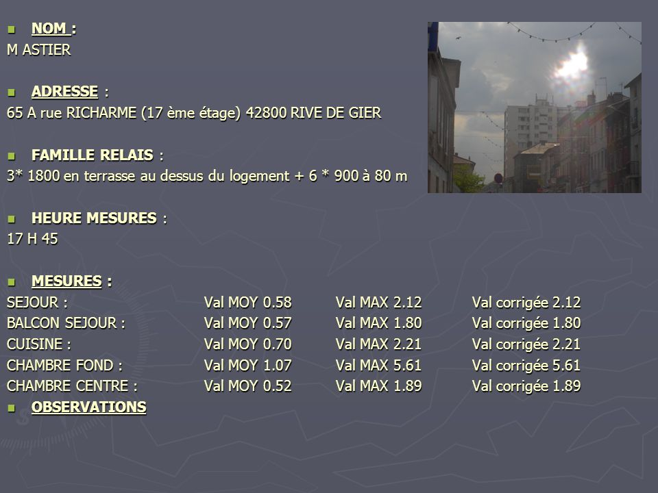 NOM : NOM : M ASTIER ADRESSE : ADRESSE : 65 A rue RICHARME (17 ème étage) 42800 RIVE DE GIER FAMILLE RELAIS : FAMILLE RELAIS : 3* 1800 en terrasse au