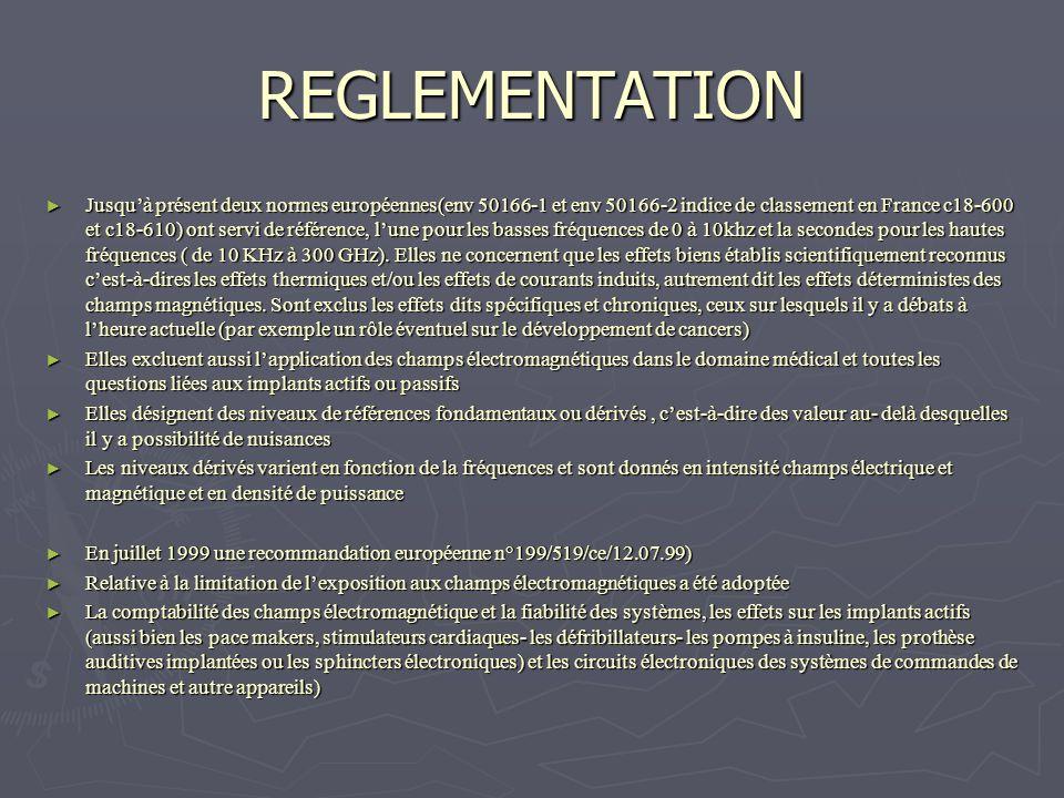 REGLEMENTATION Jusquà présent deux normes européennes(env 50166-1 et env 50166-2 indice de classement en France c18-600 et c18-610) ont servi de référ