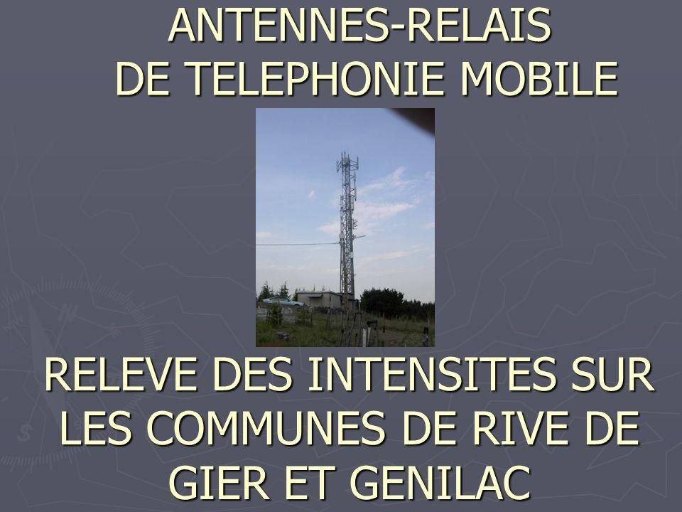 Nous avons identifié pour la seule commune de Rive de Gier la présence de 2 antennes sur la Tour de la Rue Pétrus –Richarme, 6 antennes sur les petits bâtiments HLM de la même rue, 6 antennes sur le Grand-Pont, 14 antennes sur Montjoint, 4 antennes sur la tour Chantegraine où est installé le siège de la société HMF.