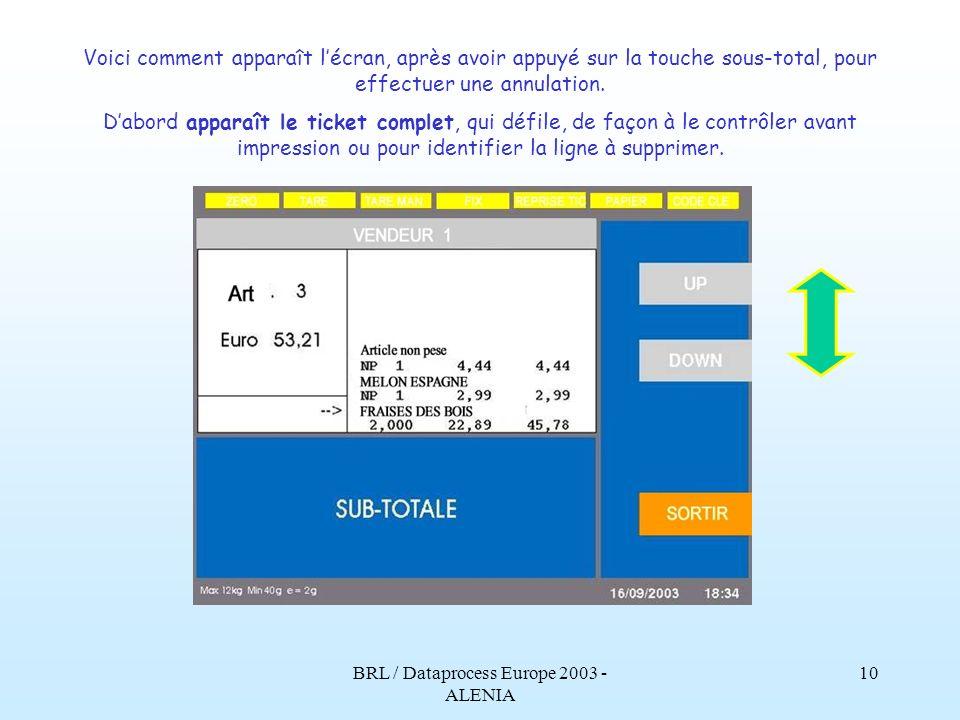 BRL / Dataprocess Europe 2003 - ALENIA 9 Avec ce message supplémentaire, il est possible davertir le vendeur de mener une action particulière sur ce p
