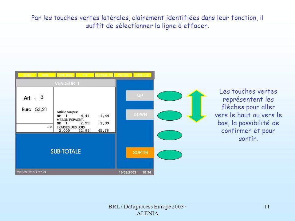 BRL / Dataprocess Europe 2003 - ALENIA 10 Voici comment apparaît lécran, après avoir appuyé sur la touche sous-total, pour effectuer une annulation.