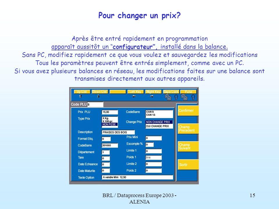 BRL / Dataprocess Europe 2003 - ALENIA 14 Alenia: Avec les nouvelles fonctions d Alenia: les temps de formation sont réduits pour les nouveaux vendeur