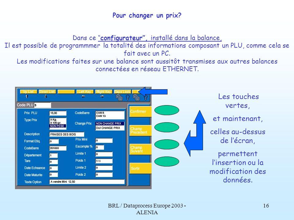 BRL / Dataprocess Europe 2003 - ALENIA 15 Pour changer un prix.