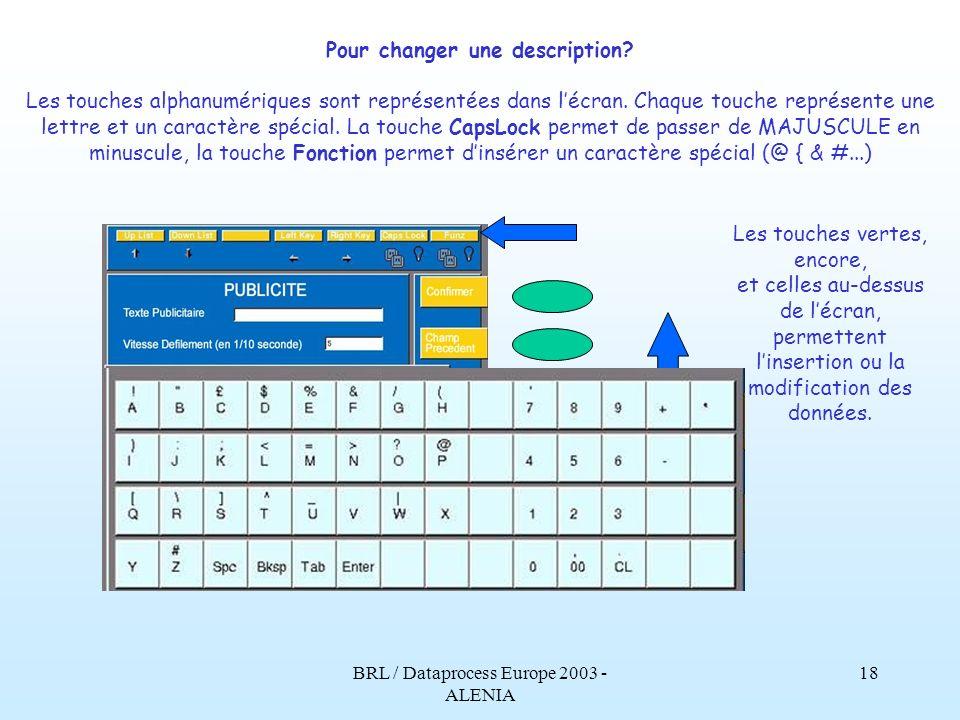BRL / Dataprocess Europe 2003 - ALENIA 17 Pour changer une description? Encore plus facile Entrez en programmation, lécran représente le clavier alpha