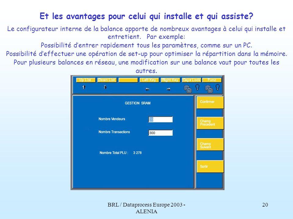 BRL / Dataprocess Europe 2003 - ALENIA 19 Alenia: Avec la possibilité dinsérer ou de modifier soi-même les paramètres, il devient possible dutiliser a