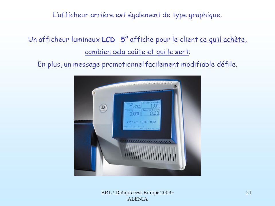 BRL / Dataprocess Europe 2003 - ALENIA 20 Et les avantages pour celui qui installe et qui assiste? Le configurateur interne de la balance apporte de n