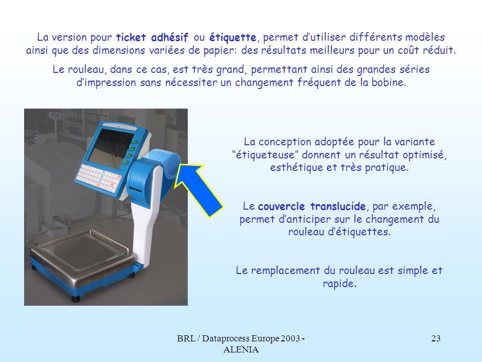 BRL / Dataprocess Europe 2003 - ALENIA 22 Limprimante thermique est à haute définition, rapide et fiable, selon la tradition de BRL/Dataprocess Europe.