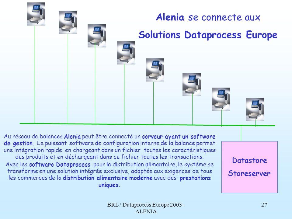 BRL / Dataprocess Europe 2003 - ALENIA 26 Alenia se connecte en réseau Ethernet Les balances Alenia se connectent en réseau Ethernet, entre elles et avec dautres unités utilisant le même type de technologie standard, garantie de rapidité et de fiabilité.