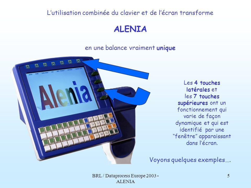 BRL / Dataprocess Europe 2003 - ALENIA 4 Le fonctionnement de lécran LCD couleurs, 10, est étroitement lié à celui du clavier. Le clavier dispose de 5