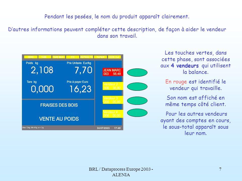 BRL / Dataprocess Europe 2003 - ALENIA 6 Ceci est lécran principal, celui qui apparaît pendant le fonctionnement normal en mode vente.