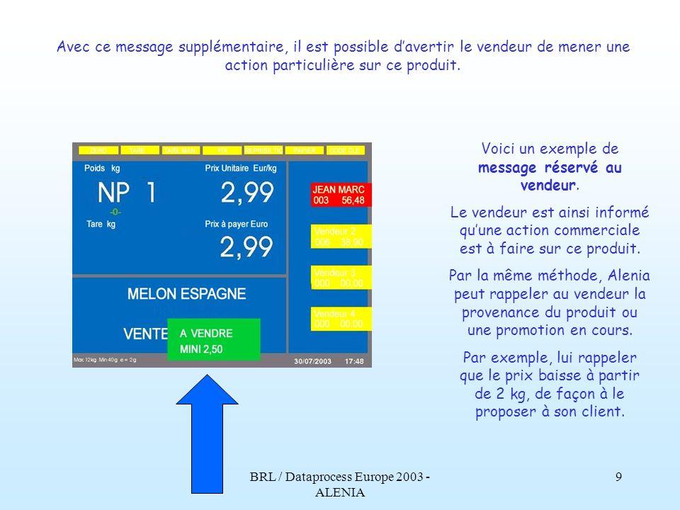 BRL / Dataprocess Europe 2003 - ALENIA 8 Revenons à lécran principal, celui qui apparaît pendant lactivité normale de vente. La description du produit