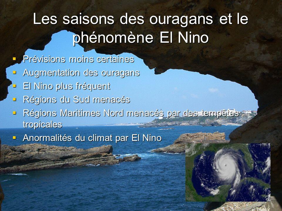 Les saisons des ouragans et le phénomène El Nino Prévisions moins certaines Prévisions moins certaines Augmentation des ouragans Augmentation des ouragans El Nino plus fréquent El Nino plus fréquent Régions du Sud menacés Régions du Sud menacés Régions Maritimes Nord menacés par des tempêtes tropicales Régions Maritimes Nord menacés par des tempêtes tropicales Anormalités du climat par El Nino Anormalités du climat par El Nino