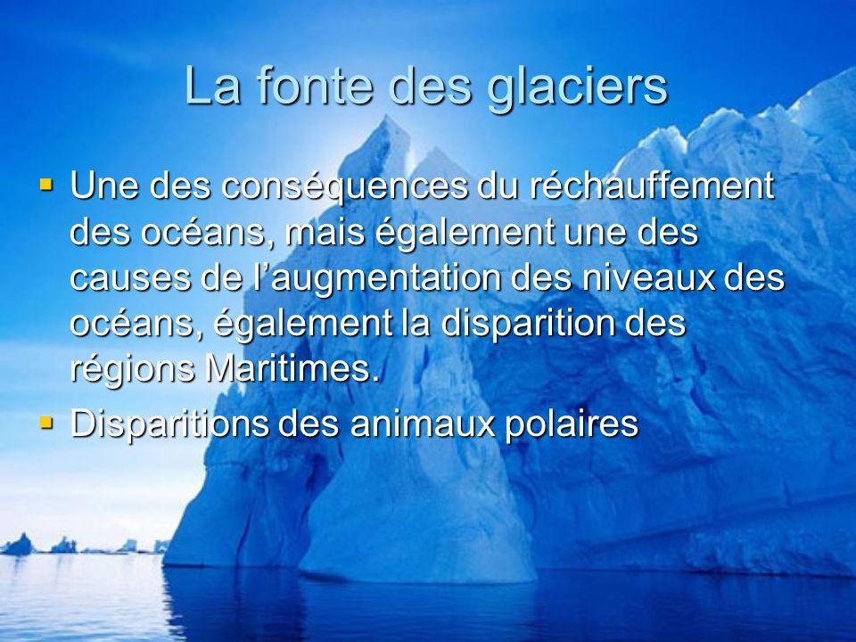 La fonte des glaciers Une des conséquences du réchauffement des océans, mais également une des causes de laugmentation des niveaux des océans, également la disparition des régions Maritimes.