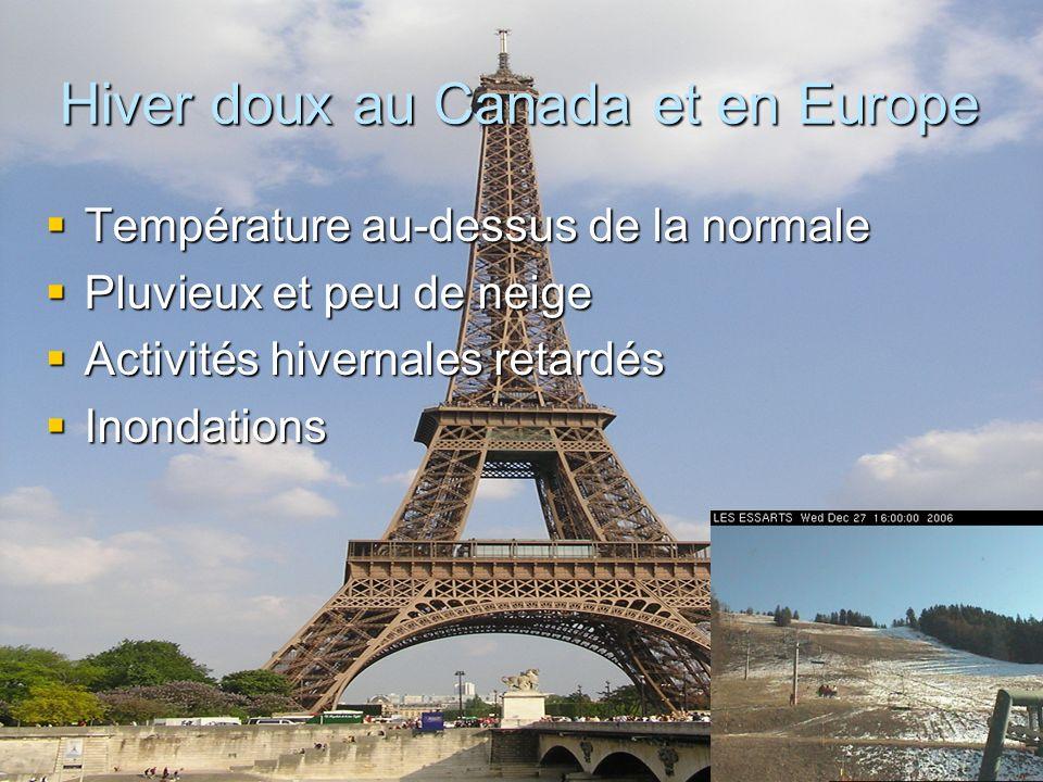 Hiver doux au Canada et en Europe Température au-dessus de la normale Température au-dessus de la normale Pluvieux et peu de neige Pluvieux et peu de neige Activités hivernales retardés Activités hivernales retardés Inondations Inondations