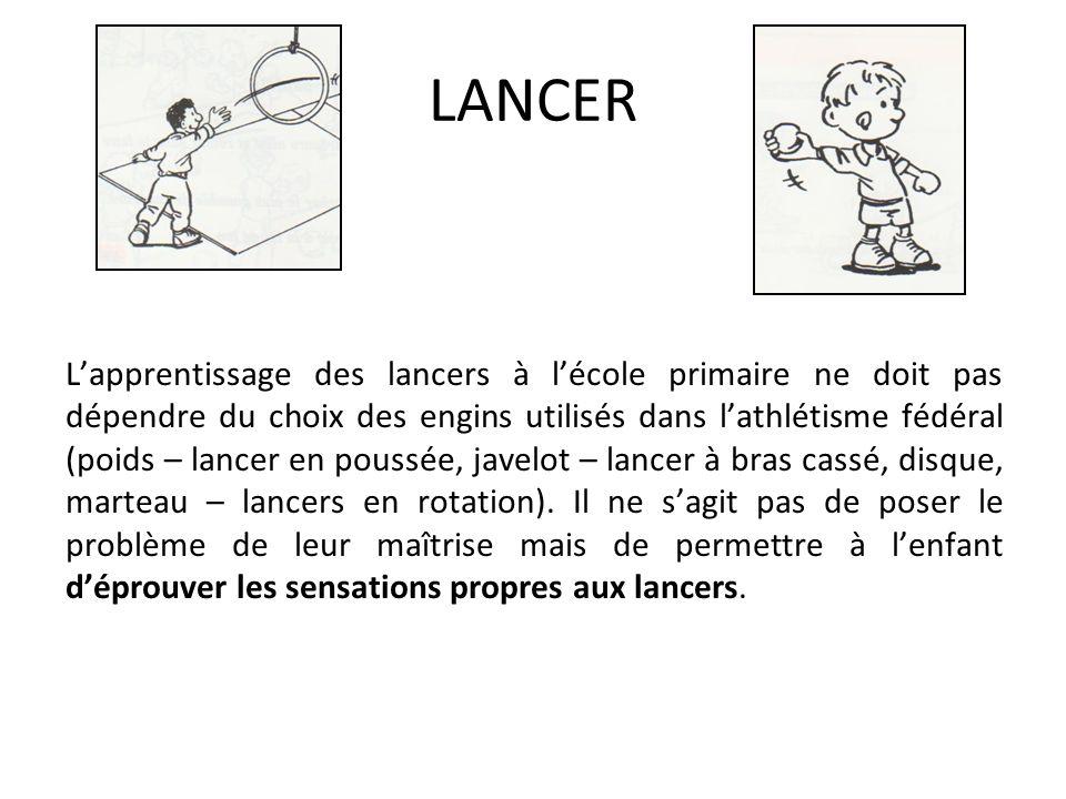 LANCER Lapprentissage des lancers à lécole primaire ne doit pas dépendre du choix des engins utilisés dans lathlétisme fédéral (poids – lancer en pous