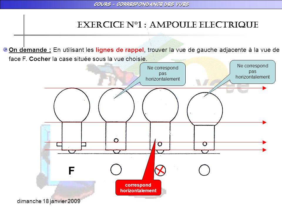 COURS – CORRESPONDANCE DES VUES dimanche 18 janvier 2009 EXERCICE N°1 : AMPOULE ELECTRIQUE On demande : En utilisant les lignes de rappel, trouver la