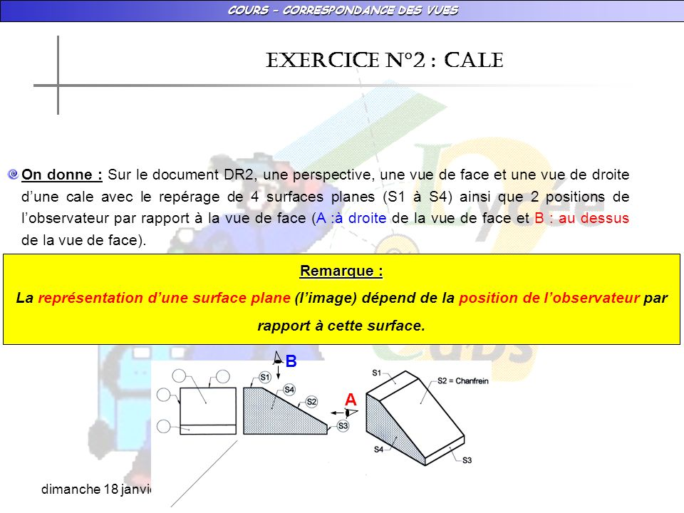 COURS – CORRESPONDANCE DES VUES dimanche 18 janvier 2009 EXERCICE N°2 : CALE On donne : Sur le document DR2, une perspective, une vue de face et une v