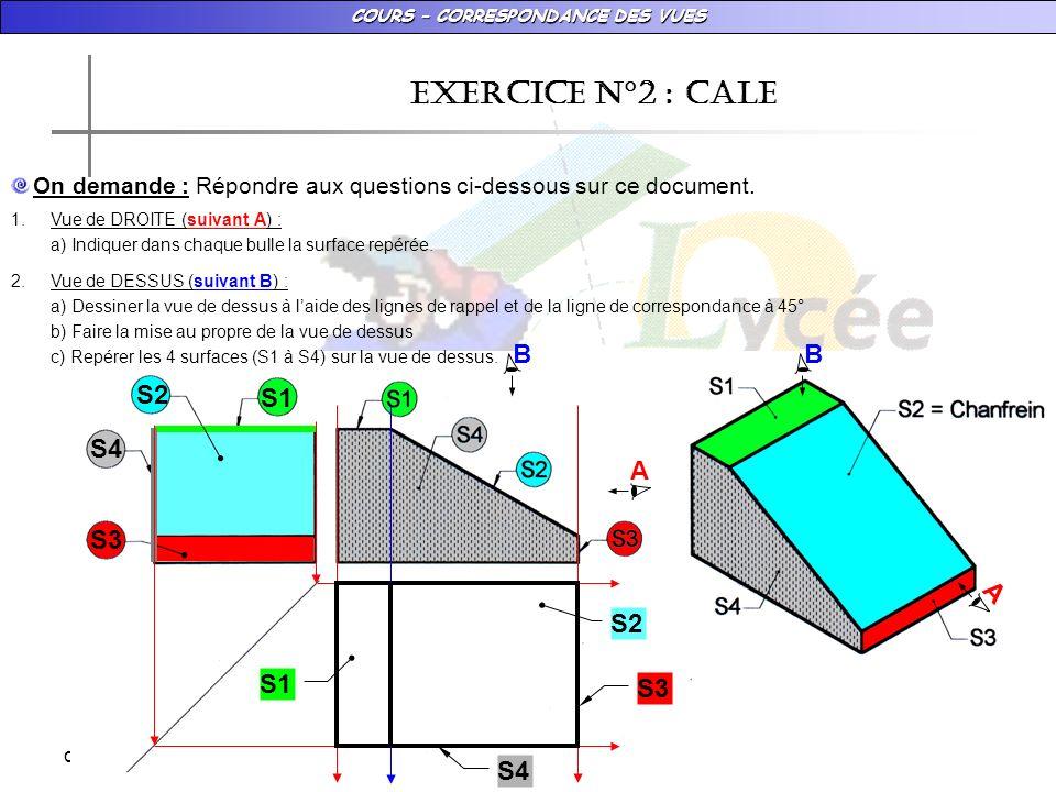 COURS – CORRESPONDANCE DES VUES dimanche 18 janvier 2009 EXERCICE N°2 : CALE 2.Vue de DESSUS (suivant B) : a) Dessiner la vue de dessus à laide des lignes de rappel et de la ligne de correspondance à 45° b) Faire la mise au propre de la vue de dessus c) Repérer les 4 surfaces (S1 à S4) sur la vue de dessus.