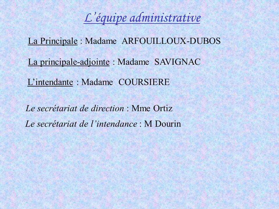 Léquipe administrative La Principale : Madame ARFOUILLOUX-DUBOS La principale-adjointe : Madame SAVIGNAC Lintendante : Madame COURSIERE Le secrétariat
