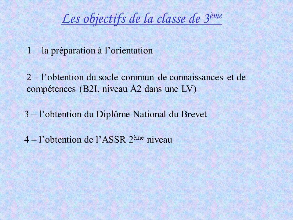 Les objectifs de la classe de 3 ème 1 – la préparation à lorientation 3 – lobtention du Diplôme National du Brevet 4 – lobtention de lASSR 2 ème nivea