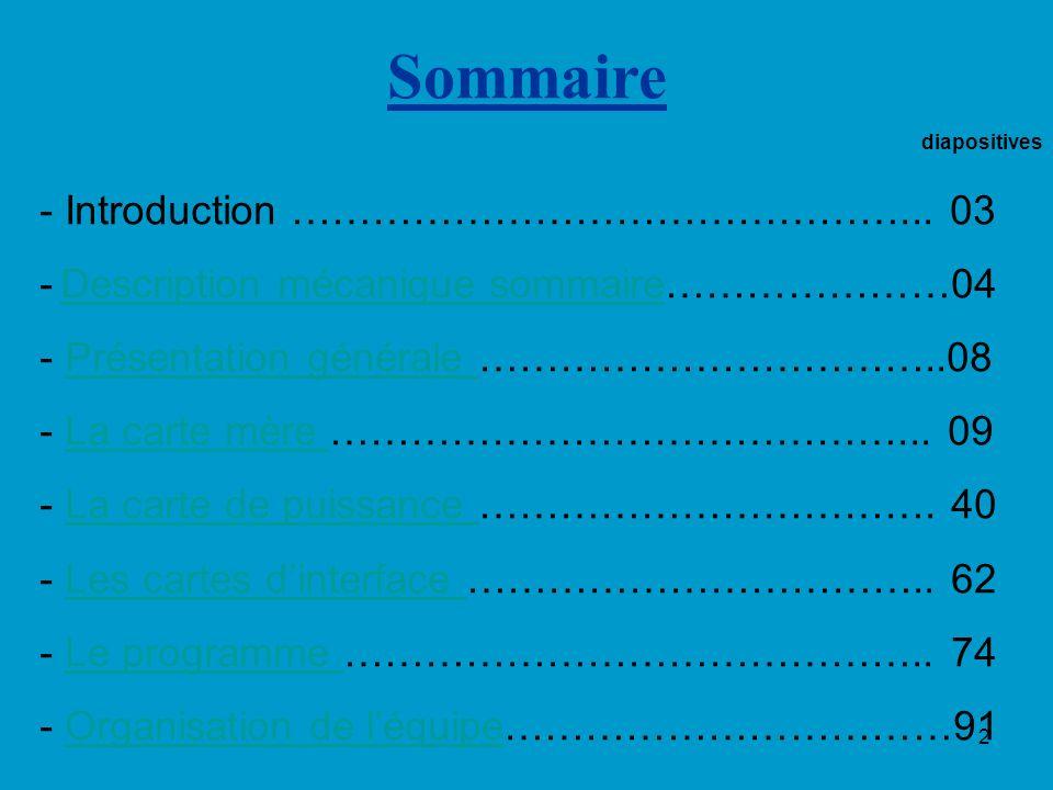 2 diapositives - Introduction ………………………………………... 03 - Description mécanique sommaire…………………04 Description mécanique sommaire - Présentation générale …
