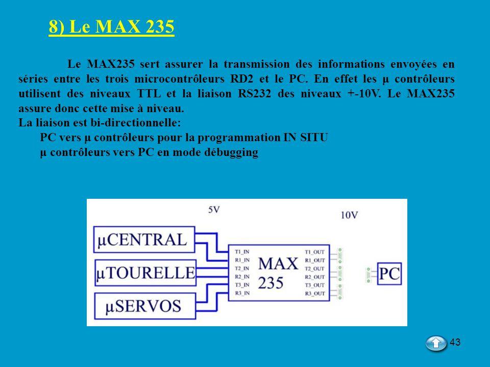 43 8) Le MAX 235 Le MAX235 sert assurer la transmission des informations envoyées en séries entre les trois microcontrôleurs RD2 et le PC. En effet le