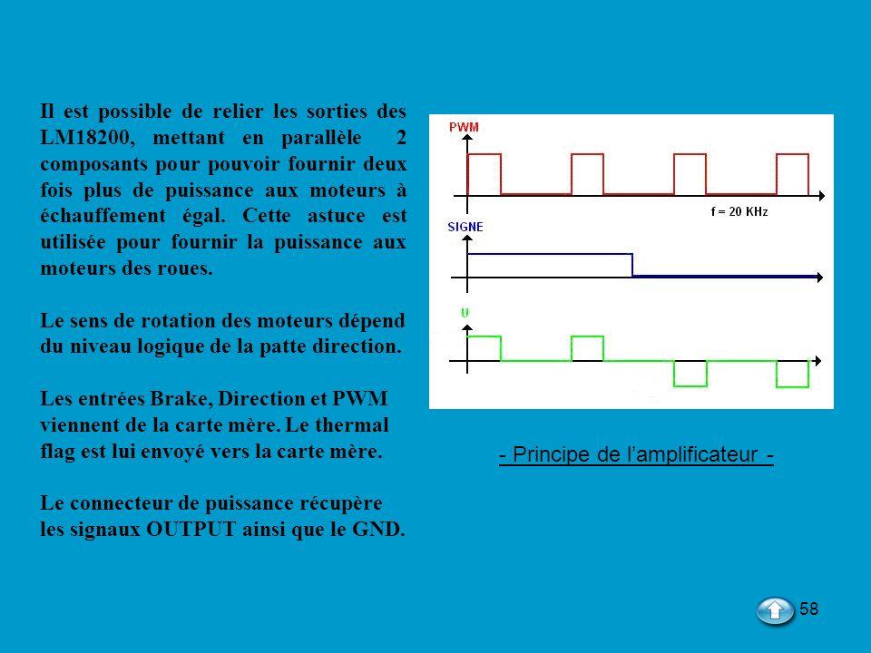 58 - Principe de lamplificateur - Il est possible de relier les sorties des LM18200, mettant en parallèle 2 composants pour pouvoir fournir deux fois