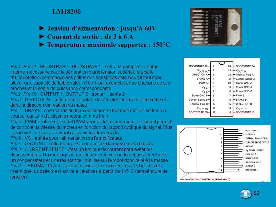 59 LM18200 Tension dalimentation : jusquà 60V Courant de sortie : de 3 à 6 A Température maximale supportée : 150°C Pin 1, Pin 11 : BOOSTRAP 1, BOOSTR