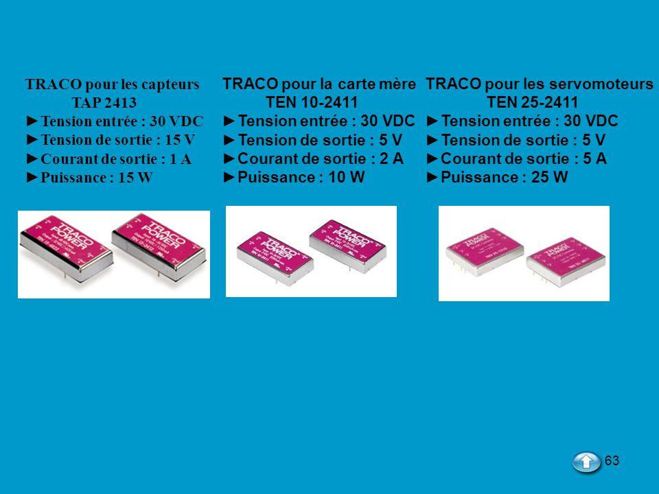 63 TRACO pour les capteurs TAP 2413 Tension entrée : 30 VDC Tension de sortie : 15 V Courant de sortie : 1 A Puissance : 15 W TRACO pour la carte mère