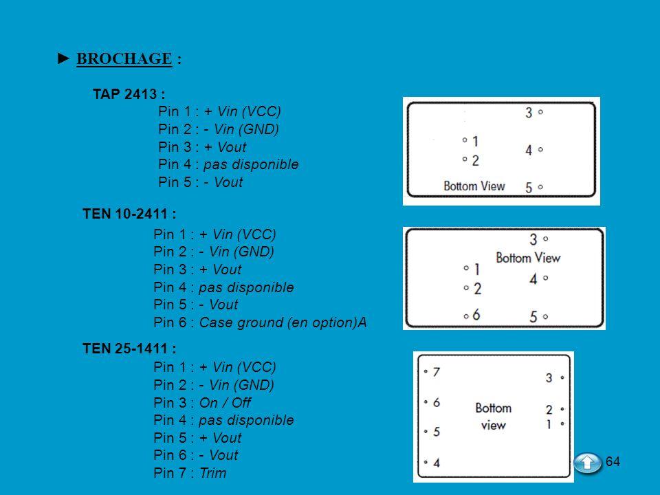 64 BROCHAGE : TAP 2413 : Pin 1 : + Vin (VCC) Pin 2 : - Vin (GND) Pin 3 : + Vout Pin 4 : pas disponible Pin 5 : - Vout TEN 10-2411 : Pin 1 : + Vin (VCC