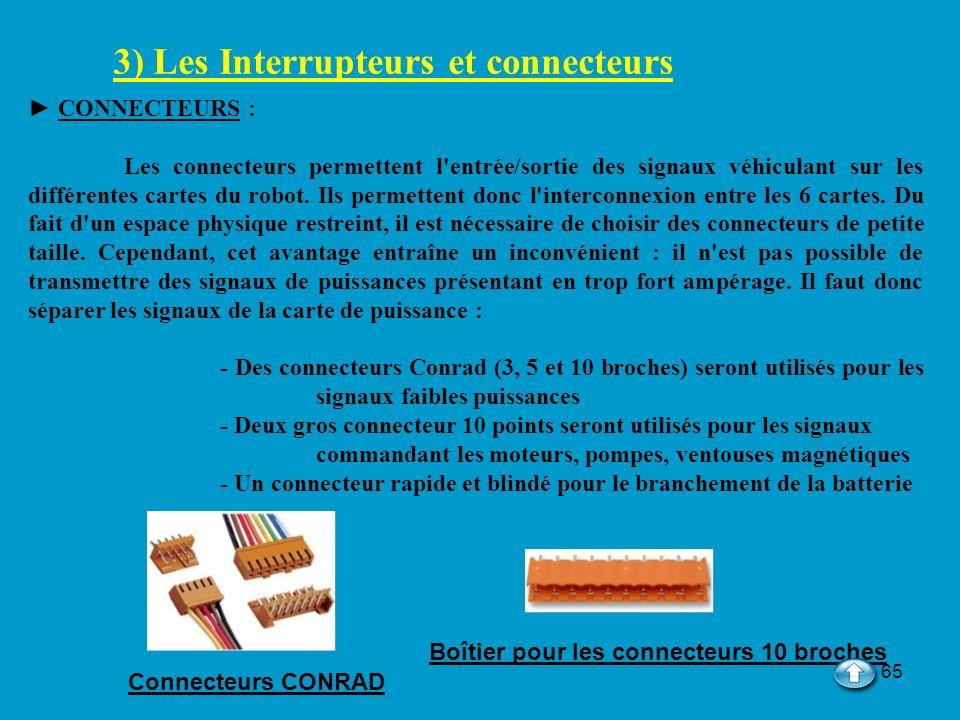 65 3) Les Interrupteurs et connecteurs CONNECTEURS : Les connecteurs permettent l'entrée/sortie des signaux véhiculant sur les différentes cartes du r