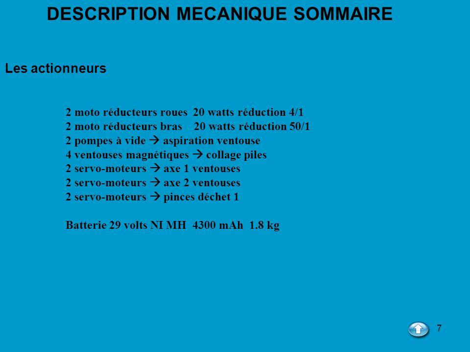 7 DESCRIPTION MECANIQUE SOMMAIRE Les actionneurs 2 moto réducteurs roues 20 watts réduction 4/1 2 moto réducteurs bras 20 watts réduction 50/1 2 pompe